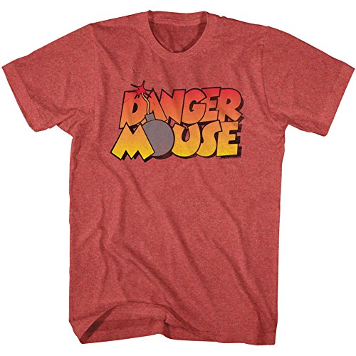 Danger Mouse T-shirt - Danger Mouse - Mens Danger Bomb T-Shirt, Small, Red Heather