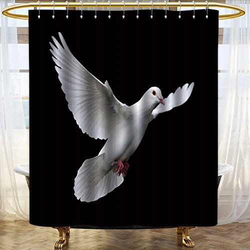 aolankaili Shower Curtain with Hooks White Dove in Flight Printed Bathroom curtain/W72 x L96 - Savona Iron