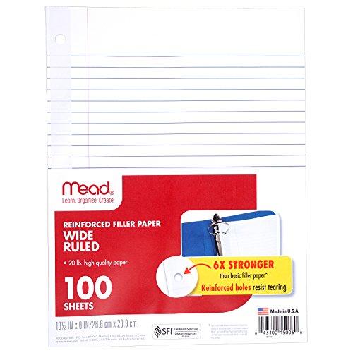 Mead Loose Leaf Paper, Filler Paper, Reinforced, Wide Ruled, 100 Sheets, 10-1/2