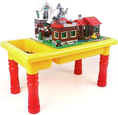 ビルディングブロックゲームテーブル 子供の多機能ストレージビルディングテーブル3-8歳の子供の教育ビルディングブロック組み立てられたおもちゃのテーブルイエロー ポータブル折りたたみテーブル (色 : 黄, サイズ : 28x25x48cm)