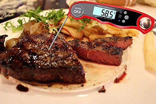 Meat Thermometer Digital Waterproof BBQ Grilling Nonstopfind Meat Thermometer Red Instant Read Food Thermometer with Calibration and Backlight Functions Cooking Thermometer For Water Tea Bathing Milk by Nonstopfind (Image #2)
