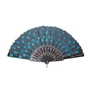 TOOGOO Peacock Pattern Sequin Fabric Hand Fan Decorative Blue Color