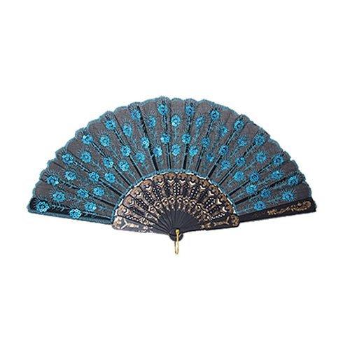 ventilatore - SODIAL(R) Peacock modello paillettes tessuto Fan mano decorativo di colore blu TOOGOO(R)