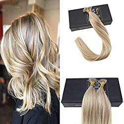Sunny 20inch Remy Human Nano Ring Hair Extensions Two Tone Color Dark Ash Blonde with Golden Blonde Highlights Micro Loop Nano Ring Hair Extensions Human Hair