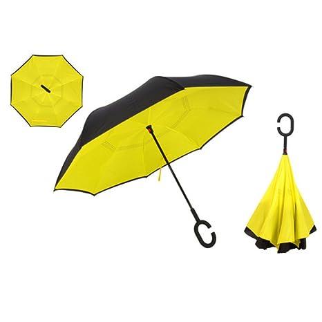 plegable paraguas reverso de doble capa invertido lluvia a prueba de viento del paraguas para las