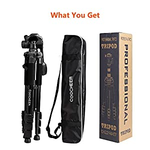COOCHEER Camera Tripod, Alluminum Alloy Camera Stand with Carrying Bag, for DSLR Camcorder Canon Sony Nikon Olympus Lumix Fujifilm Pentax K-1