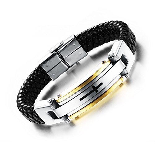 OPK Jewelry Fashion Solid Stainless Steel Cross Braide Leather Bangle Bracelet Men Jewelry,Gold
