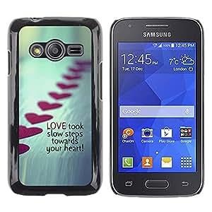 TopCaseStore / la caja del caucho duro de la cubierta de protección de la piel - Love Steps Valentines Heart Line Metal - Samsung Galaxy Ace 4 G313 SM-G313F