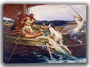 James Herbert Draper: Ulises y las sirenas. Fine Art lienzo. Tamaño: 16x 12pulgadas.