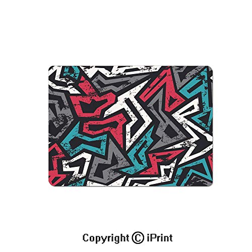 (Gaming Mouse Pads, Abstract Shapes in Graffiti Art Style Underground Hip Hop Culture Funky Street Wall Non Slip Rubber Mousepad,7.1x8.7 inch,Multicolor)