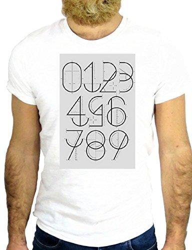 T SHIRT JODE Z2528 COOL NUMBER 1 2 3 4 5 5 TATTO DRAWING COOL VINTAGE USA UK IDEA GGG24 BIANCA - WHITE M