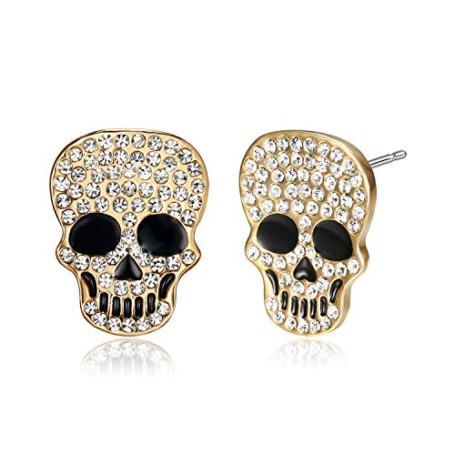 (Lee Island Fashion 18K Gold Plated White Crystal Skull Earrings for Women)