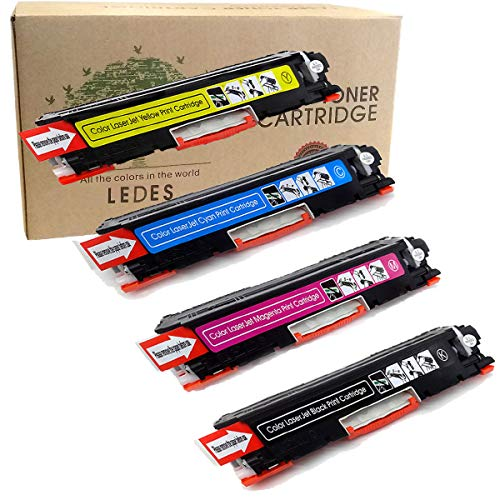 Ledes Replacement Toner Cartridge Replacement for HP 126A  ( Black, Cyan, Yellow, Magenta , 4 pk ) (Hp Laserjet 126a)