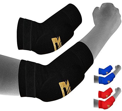 Padded Elbow Sleeve (RDX MMA Elbow Support Brace Sleeve Pads Guard Bandage Elasticated Shield Protector)