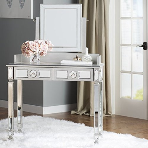 Vanity with Mirror Reflects Light to Add Sparkle and Drama to Any Décor 2 Storage Drawers with Silver Metal Pulls Swivel Mirror by eCom Fortune