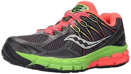 Saucony Women's Lancer 2 Running Shoe,Grey/Slime/Coral,9 M US