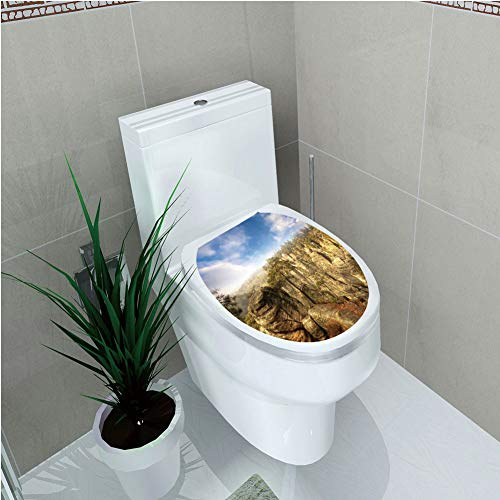 Toilet Custom Sticker,Nature,Wonders of The World National Park Rock Formation Czech Image,Sky Blue Tan Cream Olive Green,Diversified ()