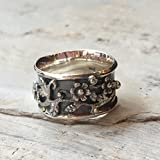 Bohemian floral flowers simple Sterling silver band Wide oxidised floral boho ring - Floral day R2371