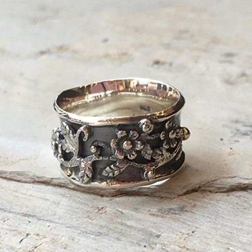 Bohemian floral flowers simple Sterling silver band Wide oxidised floral boho ring - Floral day R2371 by Artisanlook