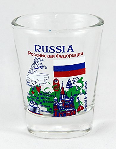 Russia Landmarks and Icons Collage Shot Glass