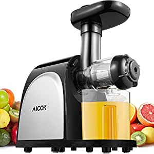Juicer Masticating Juicer, Aicok Juice Extractor Cold Press Juicer Machine, Higher Juicer Yield and Drier Pulp with Quiet Motor and Reverse Function for Fruits and Vegetables