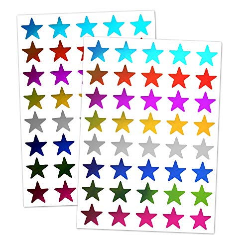 8 Colors, 1000 Pack, Foil Star Metallic Stickers, 0.6
