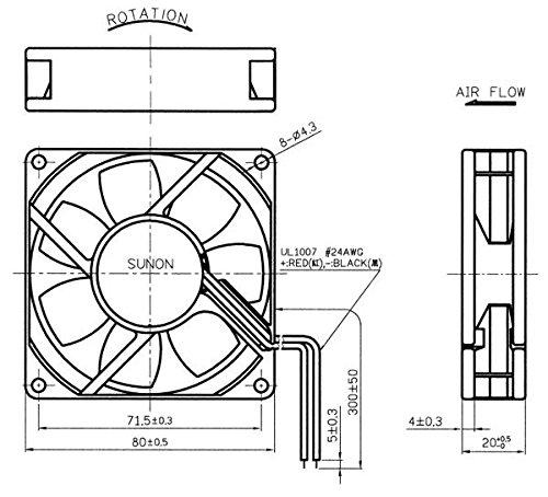 sunon 80x80x20mm 12v high speed fan 3 wire  3 pin model