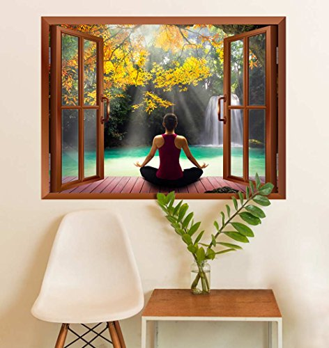 wall26 Modern Copper Window Looking Out Into a Woman Meditating by a Lake with a Waterfall - Wall Mural, Removable Sticker, Home Decor - 24x32 inches