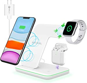Intoval Wireless Charger, True 3 in 1 for Apple iPhone/iWatch/Airpods, Qi-Certified Charging Station for iPhone 12/11/Pro/Max/XS/Max/XR/XS/X, iWatch 6/SE/5/4/3/2, Airpods Pro/2/1 (White)