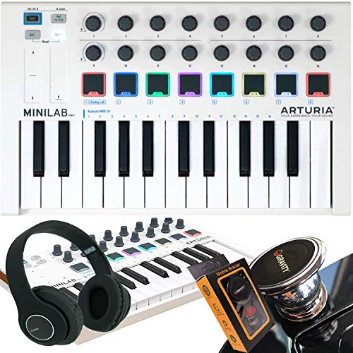 Arturia MiniLab MkII 25 Slim-Key Controller 25-Note USB Mini Keyboard Controller with 16 Encoders with Gravity Magnet…