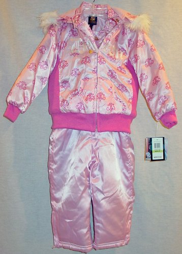 Dereon Pink Polish Toddler Girls Snowsuit / Jacket / Coat with Faux Fur Hood Trim Size 3T