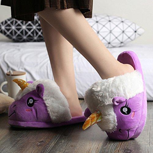 Spiritup Vuxna Plysch Unicorn Tofflor Söt Hus Anti Slip Loafers Lila