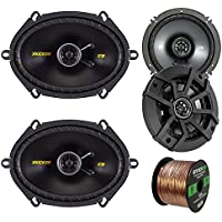 Car Speaker Set Combo Of 2 Kicker 40CS654 6.5 600W 2-Way CS-Series Car Audio Speakers, 2 Kicker 40CS684 6x8 450W 2-Way Car Coaxial Stereo Speakers, Enrock 50 Foot 16-Gauge Speaker Wire