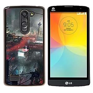 YiPhone /// Prima de resorte delgada de la cubierta del caso de Shell Armor - Futuro apocalíptica ciudad de París - LG L Prime D337 / L Bello D337