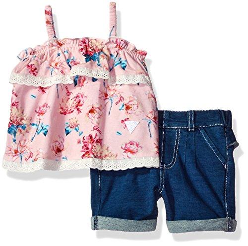GUESS Baby Girls' Set-Tank + Short, Flower Pinky Printed, (Pinky Flower)