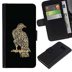 EJOY---La carpeta del tirón la caja de cuero de alta calidad de la PU Caso protector / Samsung Galaxy S6 / --pájaro