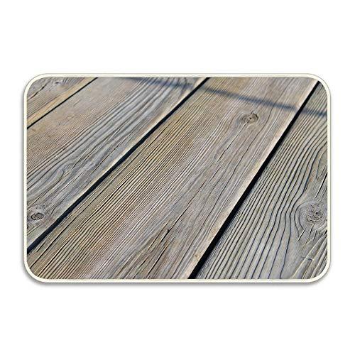 Wooden Floor Boards Light Doormat Indoor Outdoor Entrance Rug Floor Mats Shoe Scraper Door Mat Non-Slip Home Decor, Rubber Backing 16x24 Inches