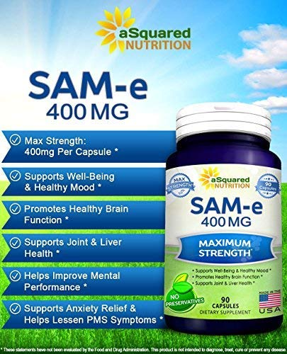 Pure SAM-e 400mg Supplement - 90 Capsules - Same (S-Adenosyl Methionine) to Support Mood, Joint Health, and Brain Function - Extra Strength SAM e Pills