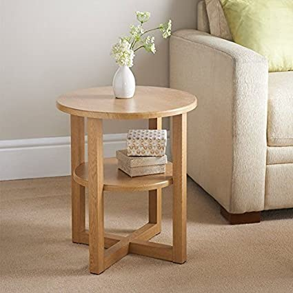 Rjkart Pine Wood Bed Side End Table For Living Room Side Table For Home Round Design Natural Finish Amazon In Electronics
