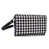 Kroo Clutch Wristlet Wallet Case for Smartphones up to 6.3-Inch - Non-Retail Packaging - Black Houndstooth and Black