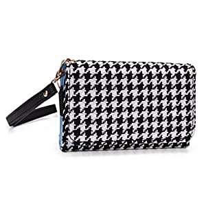 Kroo Samsung SM-N900T Galaxy Note 3 LTE Black and White Phablet Clutch with Hand Strap (Loose Fit)
