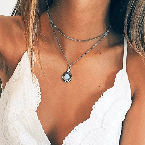 fxmimior Simple Layered Bar Pendant Necklace Boho V Neck Women Accessories