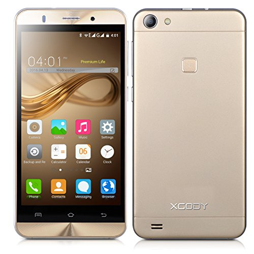 Xgody X15 5 Inch 3G Unlocked Cell Phone 8GB/1GB Quad Core Android 5.1 qHD Screen Dual SIM with Wi-Fi for T-Mobile AT&T Telefonos Desbloqueados(Gold) by Xgody
