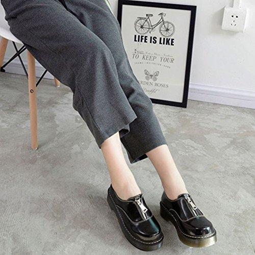Le Donne Scivolano Su Scarpe Oxford Di Fondo Spesso Scarpe Sneaker Tacco Grosso Nero