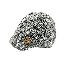 Bestknit Baby Boys Crochet Knit Newsboy cap Photography Brim Buttons Hat Grey, Small