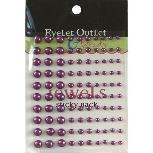 Eyelet Outlet Bling Self-Adhesive Pearls 100-Pack Multi-Size Purple