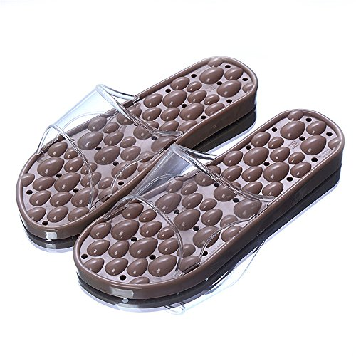 Slippers female summer slippery bath indoor home men and women massage slippers acupress foot shoes shoes slippers summer Brown w9HAkawtOd
