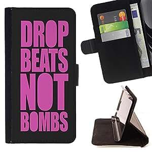 Devil Case- Estilo PU billetera de cuero del soporte del tir¨®n [solapa de cierre] Cubierta FOR Samsung Galaxy S5 Mini SG870a, SM-G800- Drop Beats Not Bombs