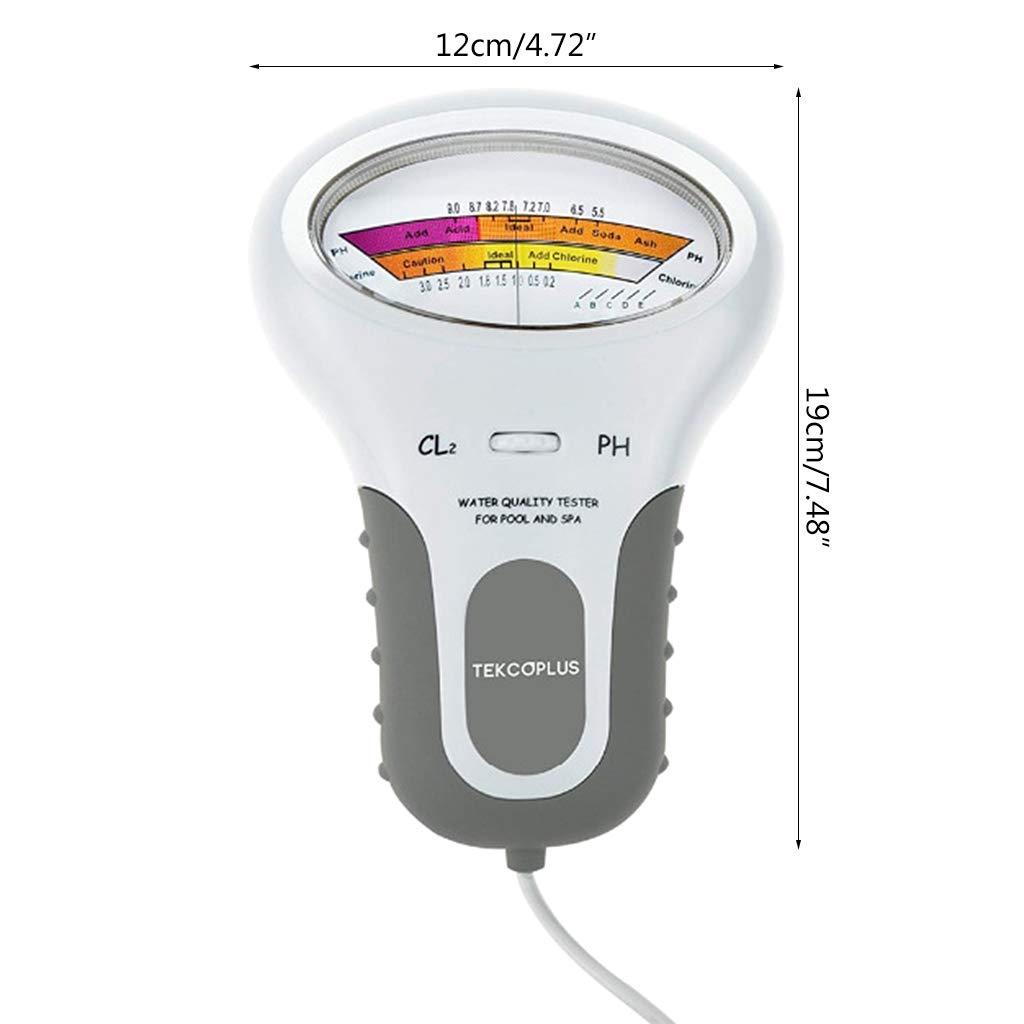 Medidor de PH Cl2 Cloro Probador de la Calidad del Agua Piscina port/átil en el hogar SPA SPA Acuario PH Test Monitor Checker Blanco Junlinto