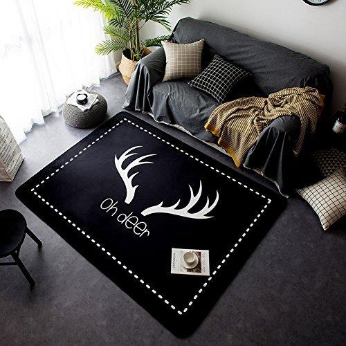 YOHA Black Velvet Soft Kids Play Mat Rug Non-Slip Crawling Carpet Living Room Mats Area Rugs Home Décor 4.8'x 6.4',Deer